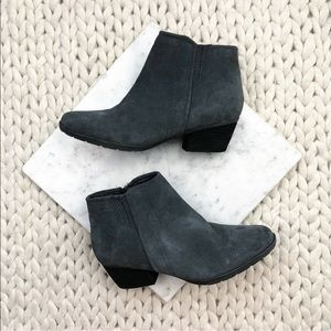 Blondo Charcoal Grey Suede Ankle Booties